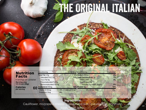 Cali'flour Foods Gluten Free, Low Carb Cauliflower Pizza Crusts - 6 Original Italian Crusts, 2 Sweet Red Pepper Crusts, and 2 Dairy Free Plant