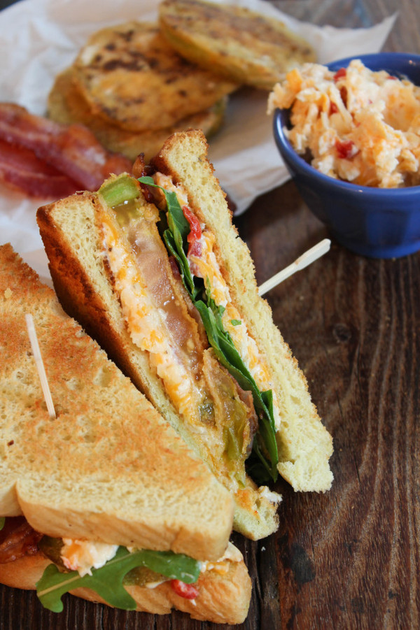 Fried Green Tomato BLTs with Pimento Cheese