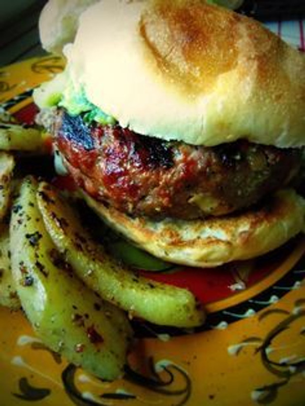 Chile Verde and Cheese Stuffed Grilled Burger