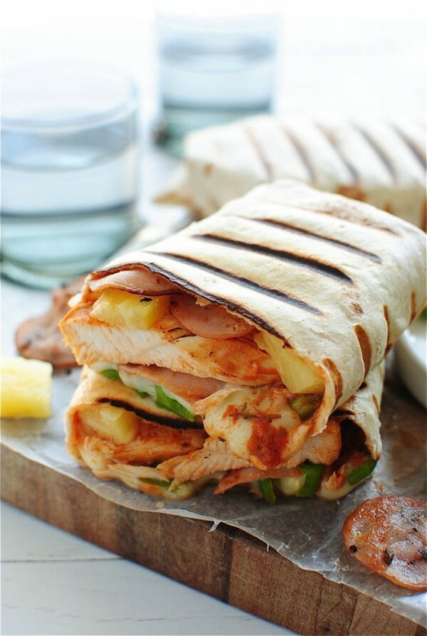 Grilled Hawaiian Pizza Burritos: