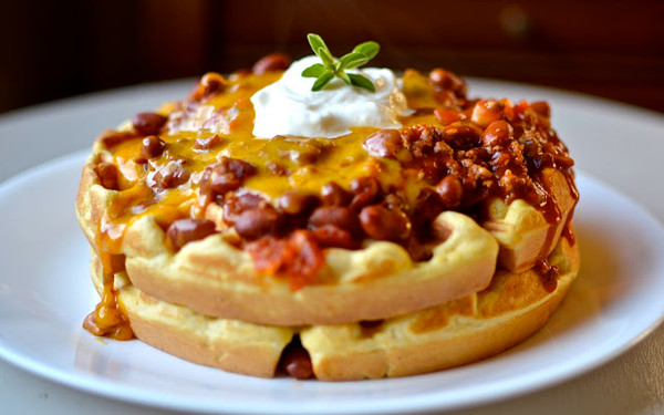 Chili Cheese Cornbread Waffles