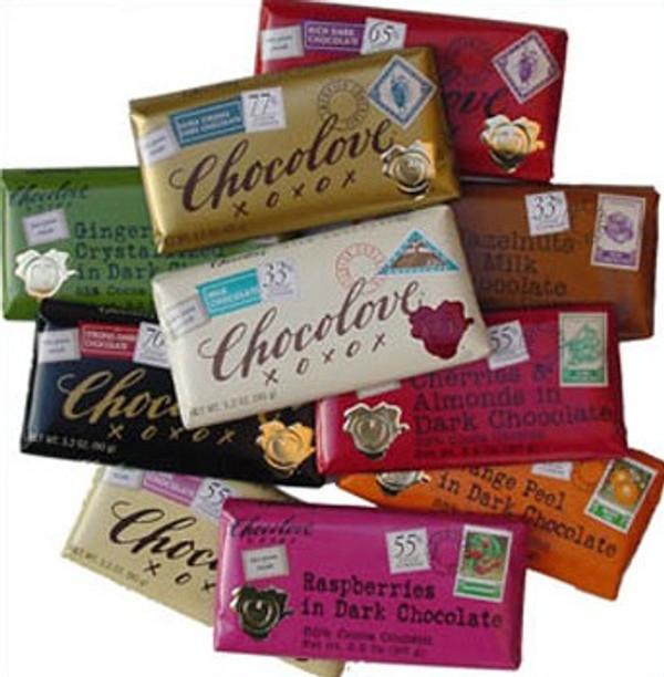 6 Bars of Chocolove xoxox Solid Chocolate Taster Gift Box