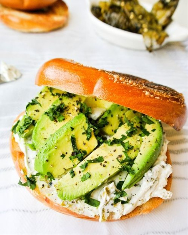 Hatch Chile Cream Cheese and Avocado Bagel Sandwich