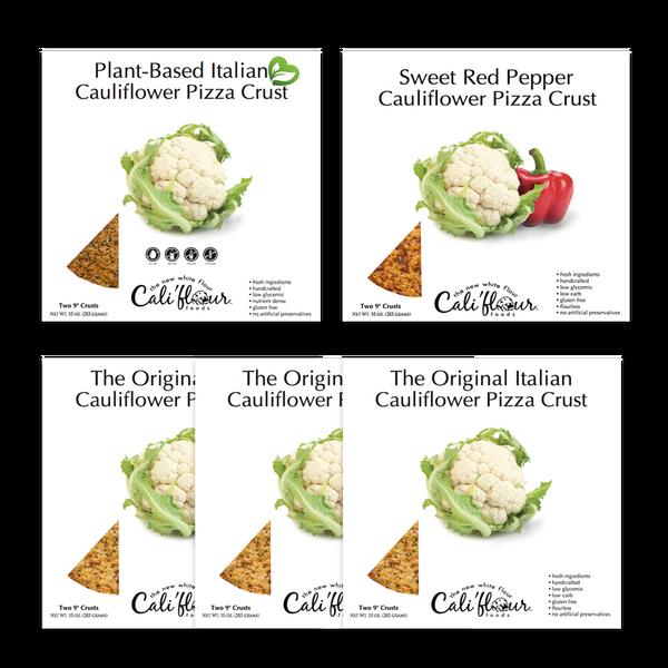 Cali'flour Foods Gluten Free, Low Carb Califlower Original Italian Pizza Crusts - 10 Total Crusts