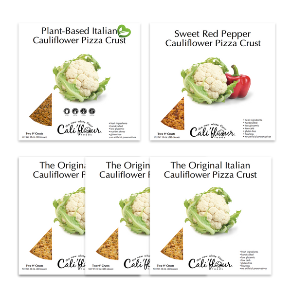 Cali'flour Foods Gluten Free Low Carb Cauliflower Sweet Red Pepper Pizza Crusts - 3 Boxes (6 Total Crusts, 2 Per Box)