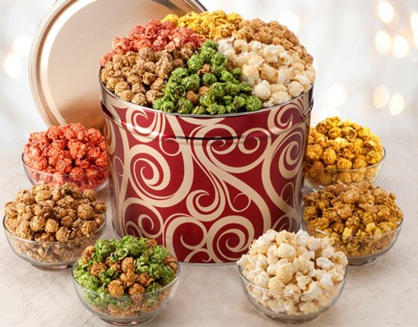 6 Tropical Popcorn flavors packaged in a decorative tin - Dockside Market