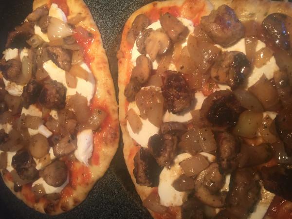 Sausage, Onion, Mushroom & Mozzarella Naan Pizza