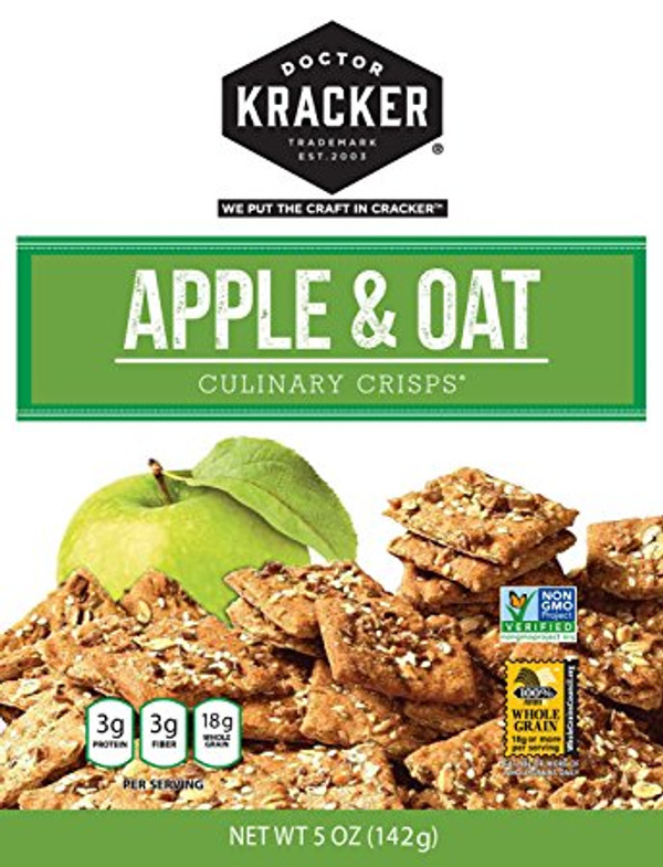 Doctor Kracker Culinary Crisps, Apple & Oat, 5 Oz Pack of 2