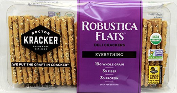Doctor Kracker Organic Robustica Flats Deli Crackers, Everything, 7.5 Ounce
