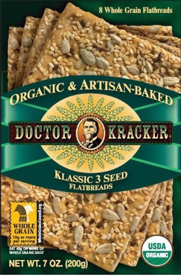 Doctor Kracker Organic and Artisan-Baked Flatbread, Klassic 3 Seed, 7-Ounce Packages (Pack of 6)