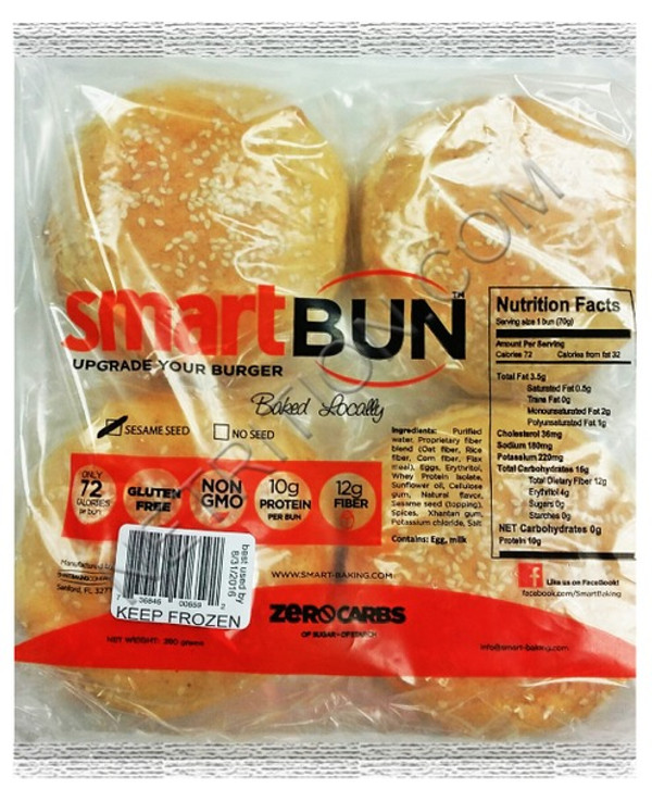 SESAME SMARTBUN® - 4-PACK - Gluten Free, ZERO CARB of sugar of starch