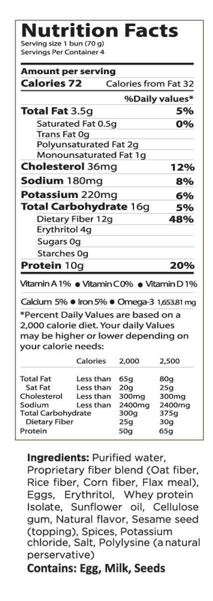 SESAME SMARTBUN® - 6 PACKS of 4 - Gluten Free, ZERO CARB of sugar of starch