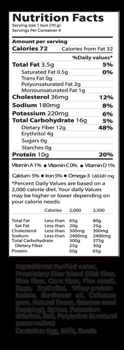 Plain SMARTBUN® - PACK of 4 - Gluten Free, ZERO CARB of sugar of starch