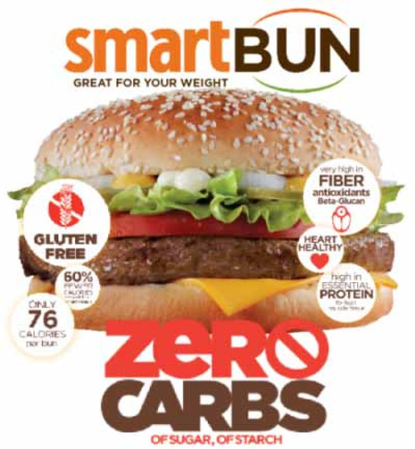 SESAME SMARTBUN® - 24-PACK - Gluten Free, ZERO CARB of sugar of starch