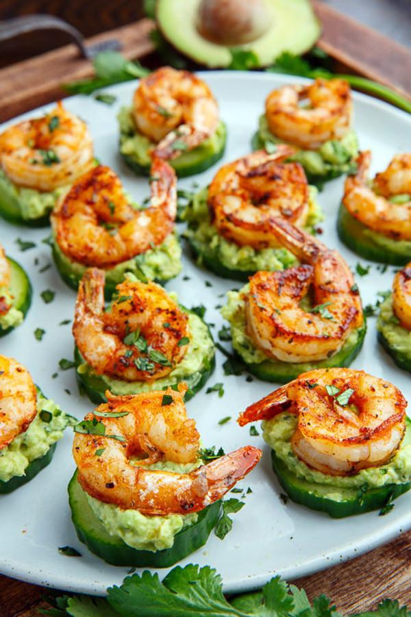 Blackened Shrimp Avocado Cucumber Bites - 42 pieces per tray