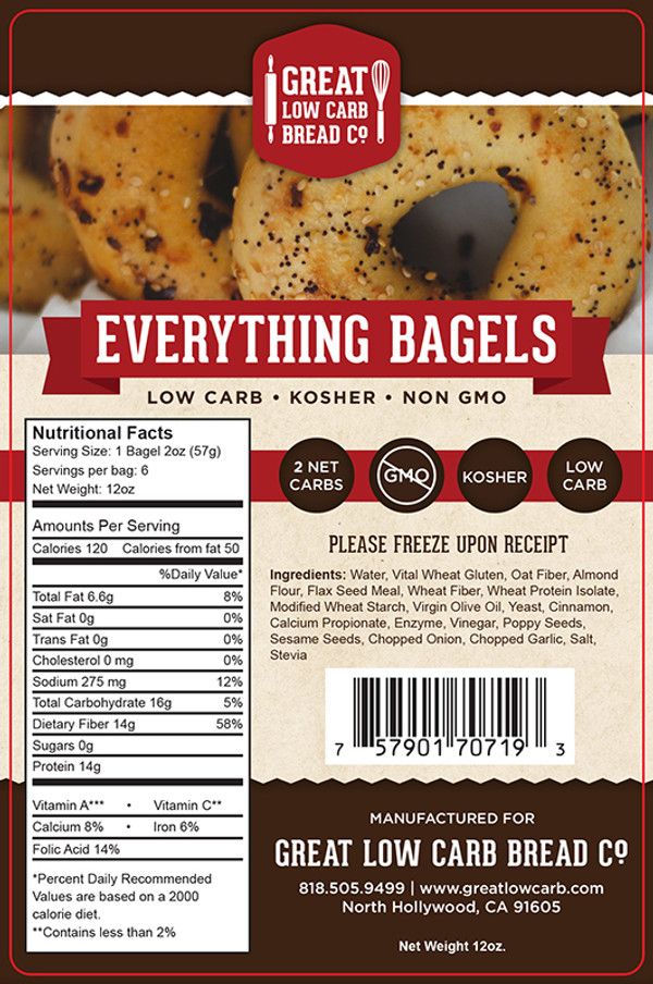 Great Low Carb Everything Bagels 16oz Bag of 6