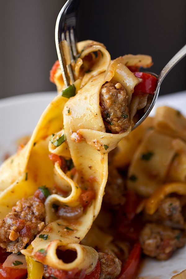 """Saucy, Italian """"Drunken"""" Noodles w/ Spicy Italian Sausage, Tomatoes, Caramelized Onions, Peppers - 2 lbs"""