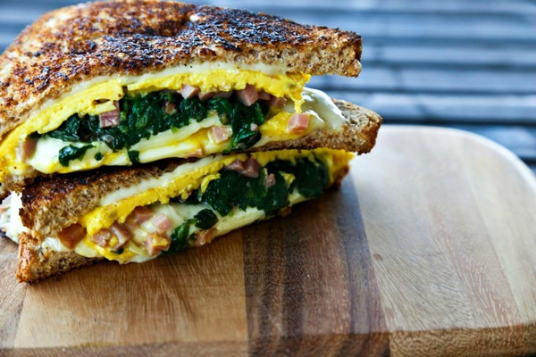 Spinach Omelet Grilled Cheese