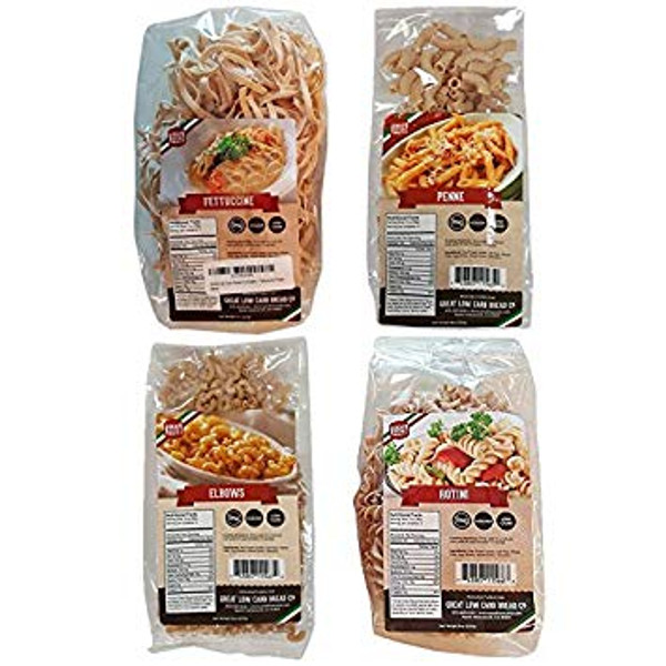 Great Low Carb Pasta Variety Pack - includes 4 - Fettuccine, Rotini, Penne, and Elbows