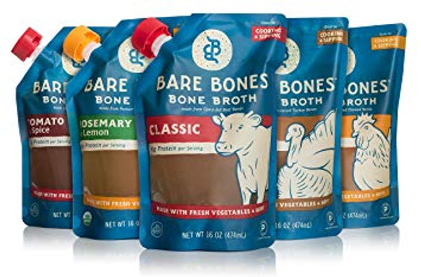 Organic Bone Broth Sampler by Bare Bones – 100% grass-fed, Organic, Bone Broth, Protein/Collagen-rich, 16 oz (5-pack)