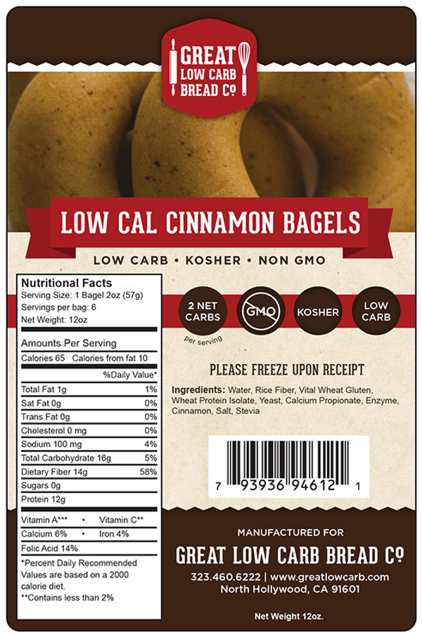 Great Low Carb 65 Calorie Cinnamon Bagels 12oz Bag of 6
