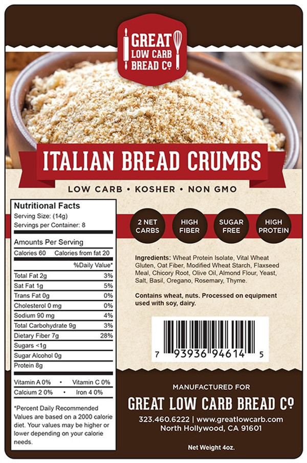 Great Low Carb Italian Bread Crumbs 4oz