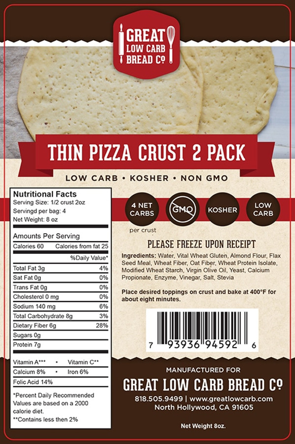 Great Low Carb Thin Pizza Crust 2 Pack 8oz