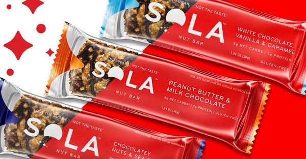 SOLA Chocolate / Vanilla / Caramel Nut Bar- includes 12