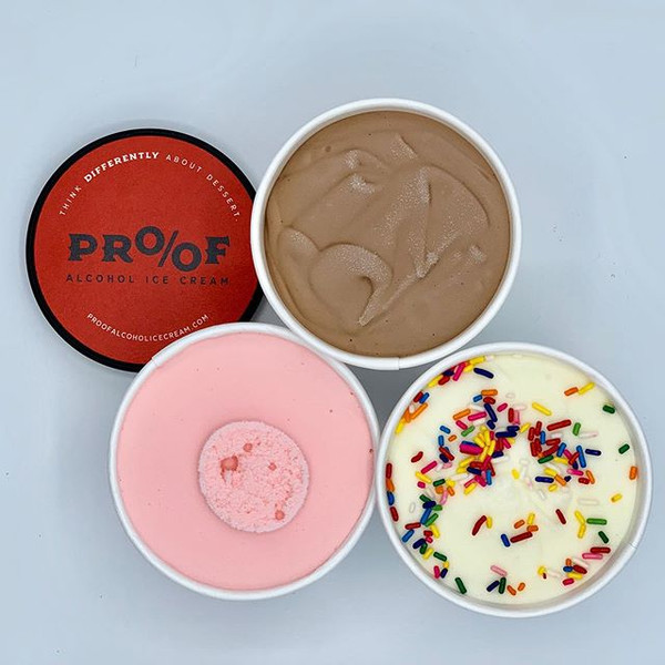 Sampling of Proof Alcohol Ice Cream Flavors - 5 of 3 oz containers