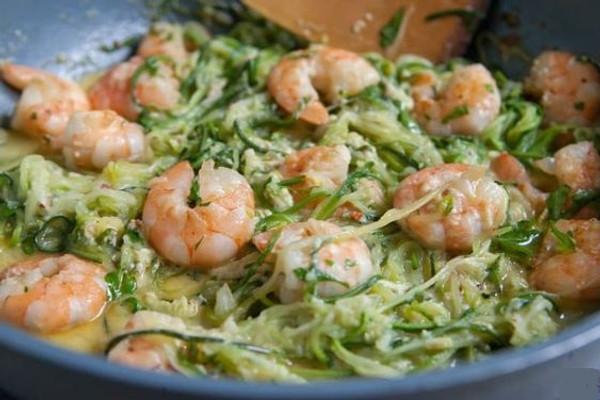 Keto/Low Carb Creamy Shrimp Alfredo with Zucchini Noodles