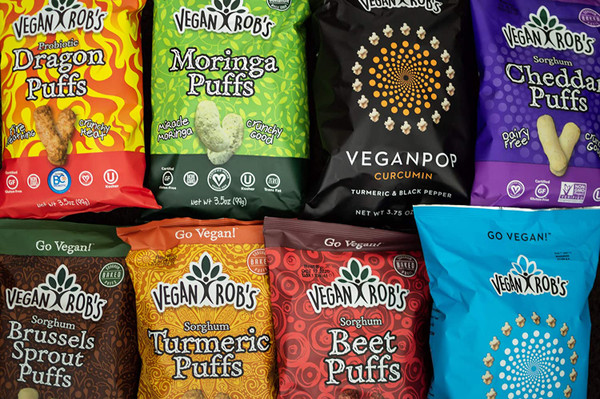 Vegan Rob's Puffs, Variety Pack With Beet, Dairy Free Cheddar, Probiotic Dragon & Moringa, 1.25 oz - Includes 12