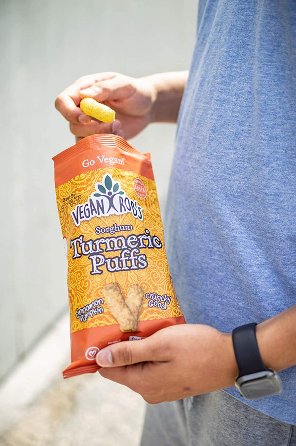 Vegan Rob's Puffs, Variety Pack With Brussel Sprout, Probiotic Cauliflower, Spinach, & Tumeric, 1.25 oz - includes 12