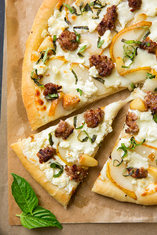Pear Goat Cheese and Italian Sausage Pizza with Roasted Garlic and Fresh Basil
