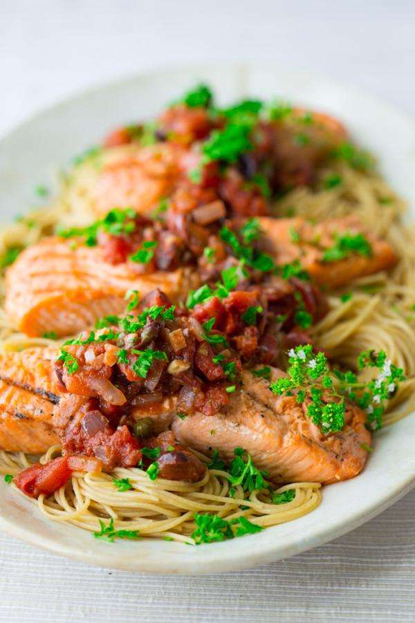 Grilled Salmon Puttanesca