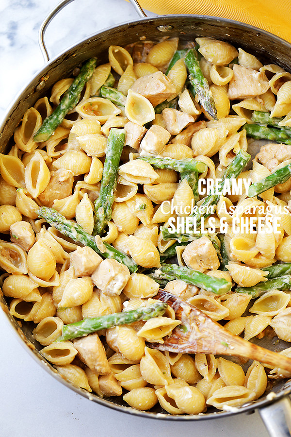 Creamy Chicken Asparagus Shells and Cheese