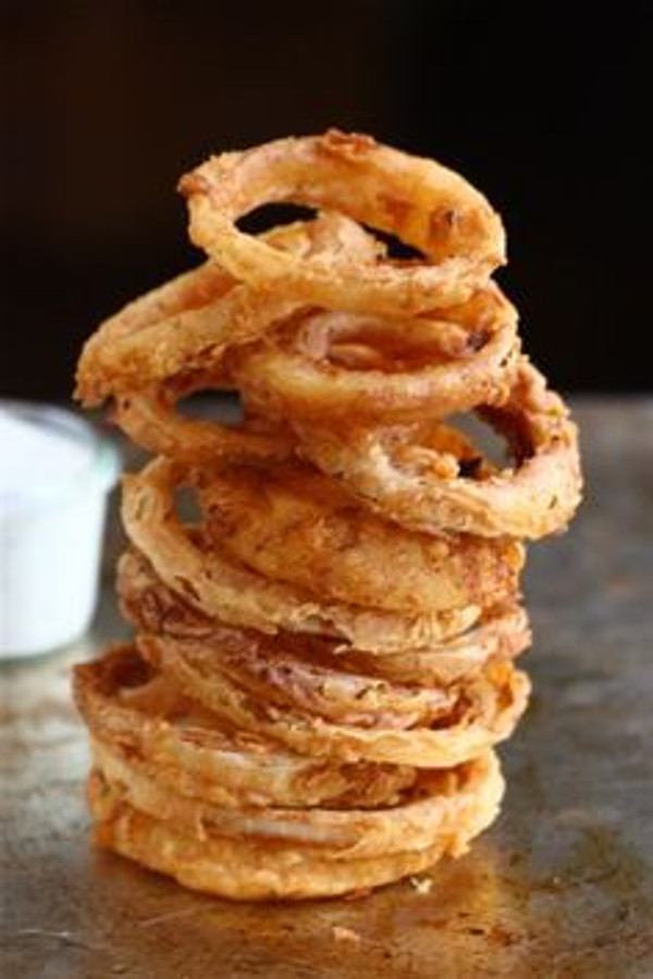 Spicy Buttermilk Vidalia Onion Rings with Buttermilk Ranch Dressing