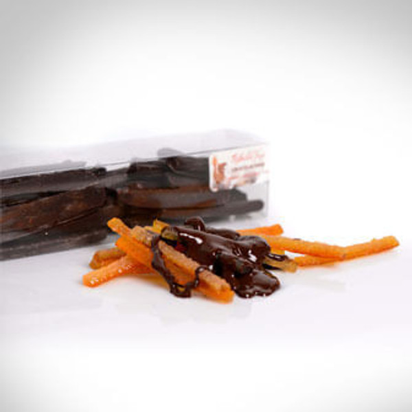 Orangettes - candied orange peels dipped in chocolate