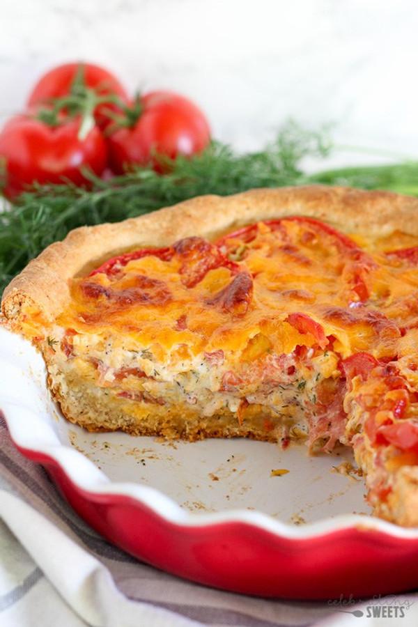 Savory Tomato Cheddar Pie