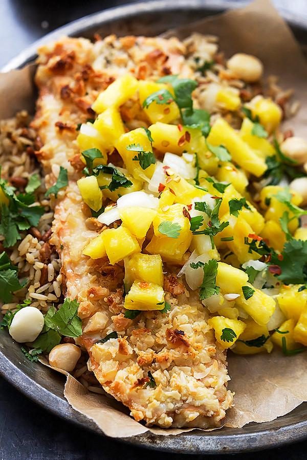 Macadamia Salmon with Pineapple Salsa
