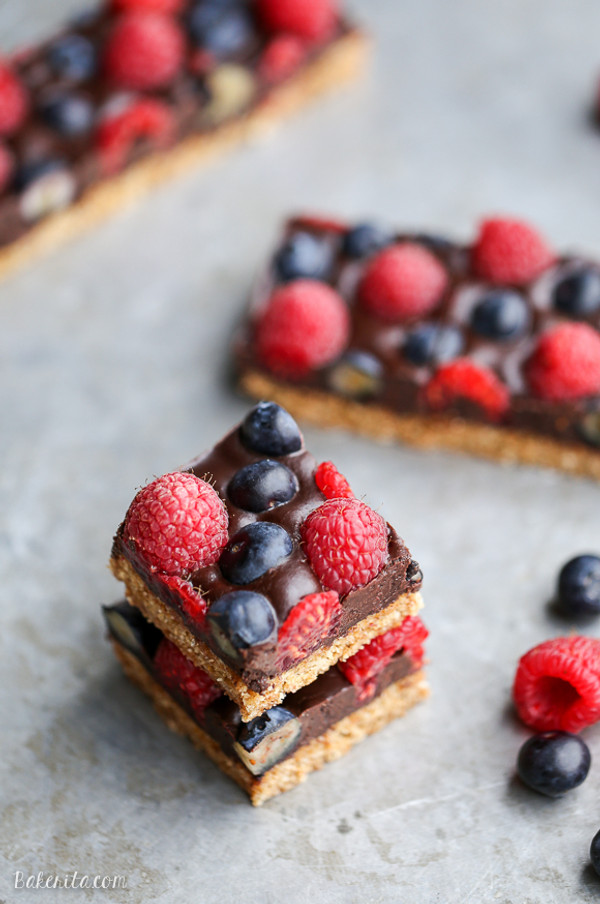 Chocolate Berry Bars (Paleo + Vegan)
