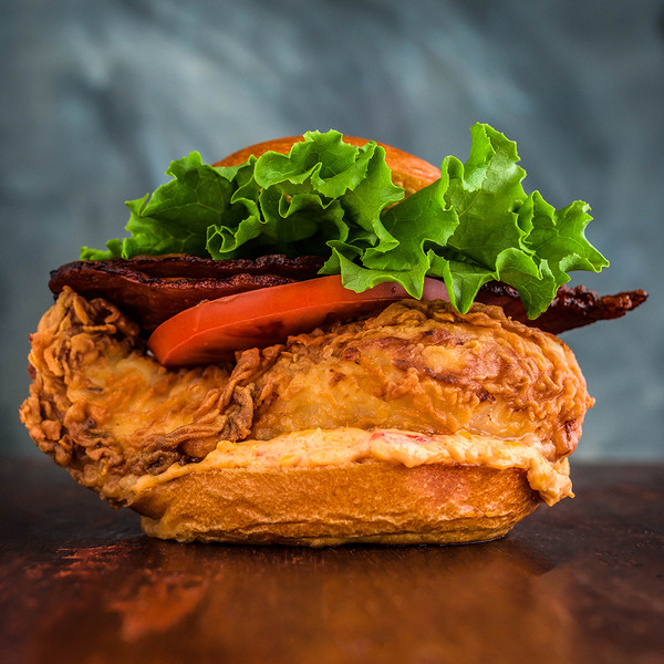 Fried Chicken Sandwich with Maple Bacon & Pimento Cheese