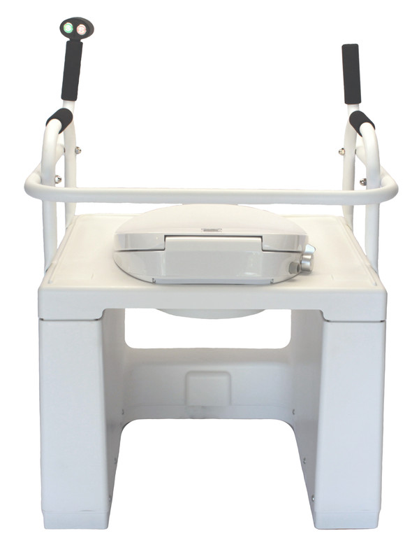 Lowered position back view, shown with optional bidet seat installed