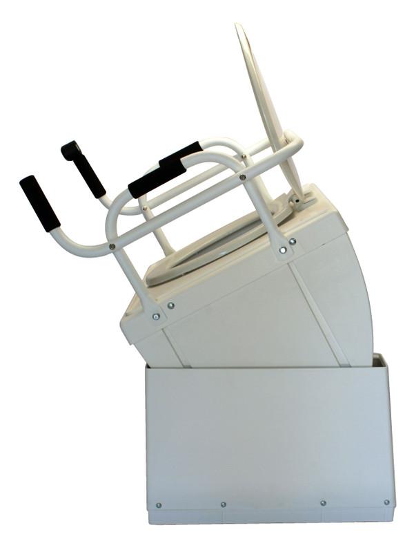 Raised position side view, shown with toilet seat installed
