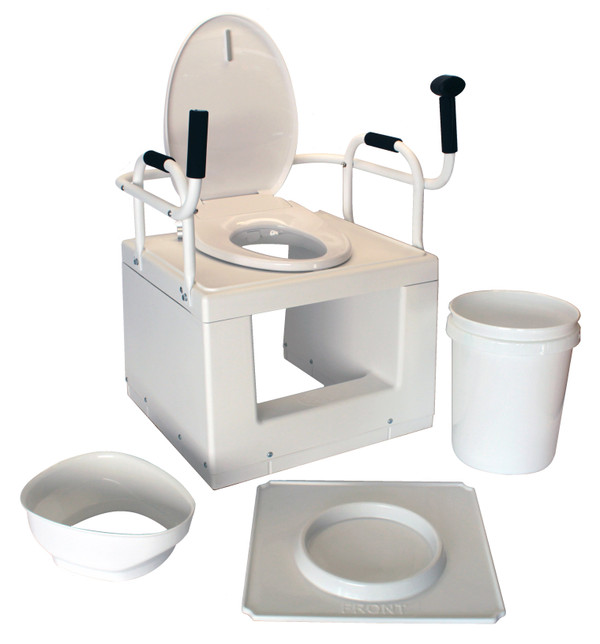 Kit includes TLFE001 standard chair, floor tray, waste bucket, splash guard, toilet seat, and waste bucket liners.