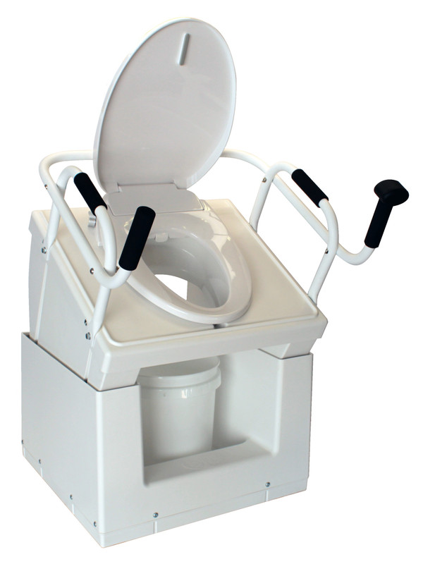 Bedside commode shown in raised position