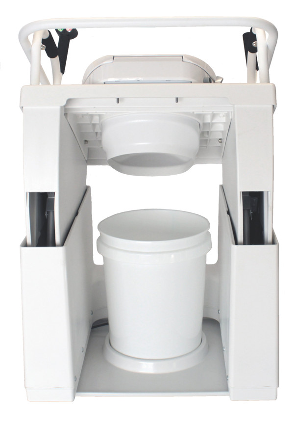 Kit shown installed with Throne Buttler from back view.  The waste bucket liner is easy to change with the lift in the raised position.