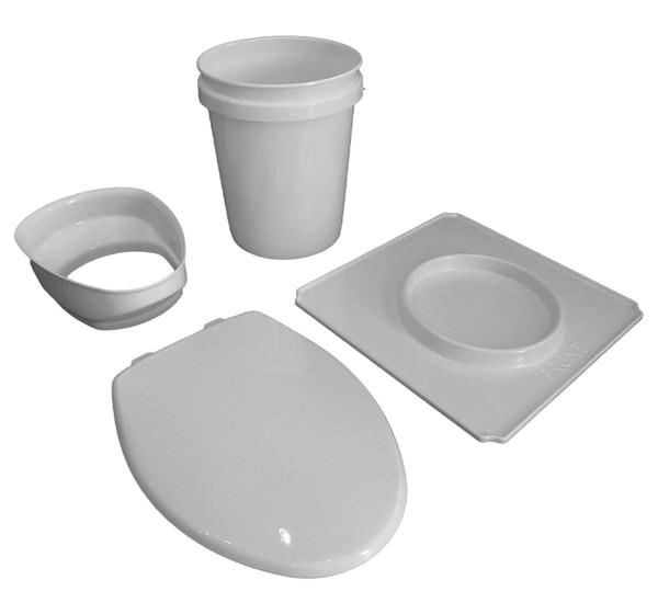 Kit contents, floor pan, splash guard, waste bucket, toilet seat, bucket liners