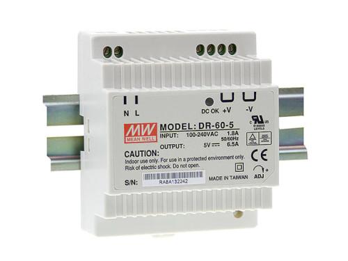 AC to DC DIN-Rail Power Supply 24 Volt 2.5 Amp 60 Watt, Mean Well DR-60-24