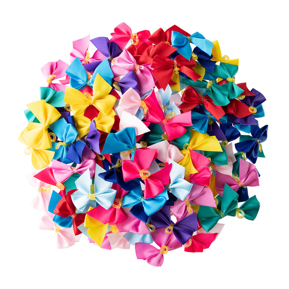 """Fancy Finishes Assorted 3/8"""" Bows - 100 Pack"""