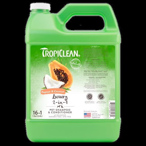 Tropiclean Papaya & Coconut Luxury 2-in-1 Dog Shampoo & Conditioner, Gallon